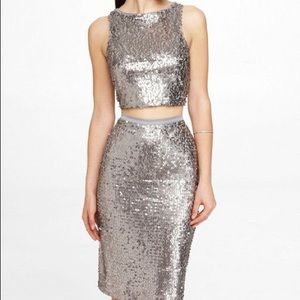 Silver sequins crop top and midi skirt set